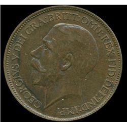 1917 G Britain 1/2 Penny XF/AU (COI-013986)