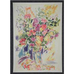 Wayne Ensrud Signed Proof Flower Bouquet in Vase
