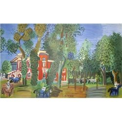 Raoul Dufy Art Print Le Paddock a Deauville 1960 -RARE
