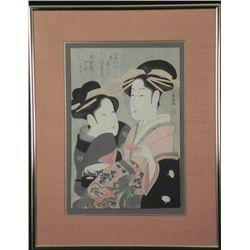 2 Geisha Portrait Utamaro Style Woodblock Print Framed