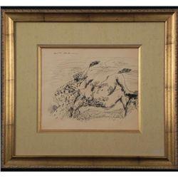 Andre Masson Original Drawing Framed Female Nude