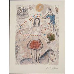 Marc Chagall : Danseuse au Flutiste Circus Art Print