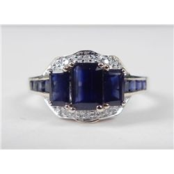 14K Yellow Gold Blue Sapphire Ring-3 Emerald Cut Stones