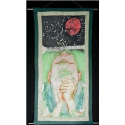 Betty Snyder Rees Original Batik Fabric Painting Moon