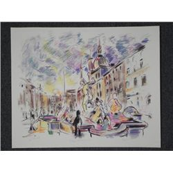 Wayne Ensrud Signed Proof Print Piazza Navonna Italy
