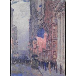 Flags on the Waldorf Childe Hassam Print On Canvas Art