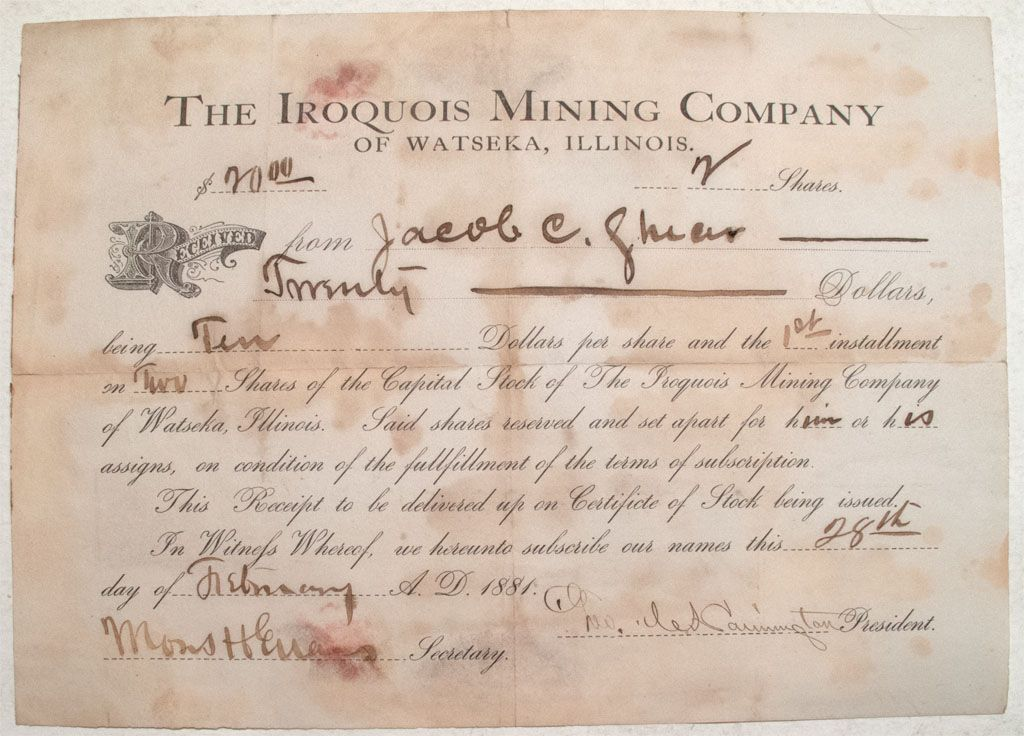 The Iroquois Mining Company stock