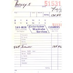 Elvis Presley Personal Las Vegas Purchase Receipt