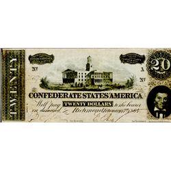 Original 1864 Confederate $20.00 Bill