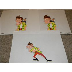 Set of Three Original Ace Ventura: The Animated Series Cels and Drawings