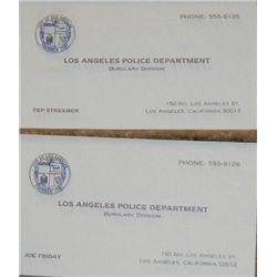 Dragnet Set of Prop Business Cards
