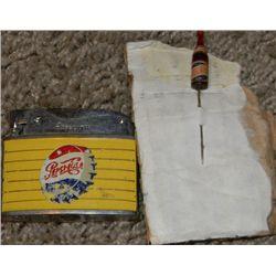 Pepsi Cola 1930s Stick Pin and 1940s Original Logo Lighter