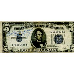 Bela Lugosi Signed $5.00 Silver Certificate