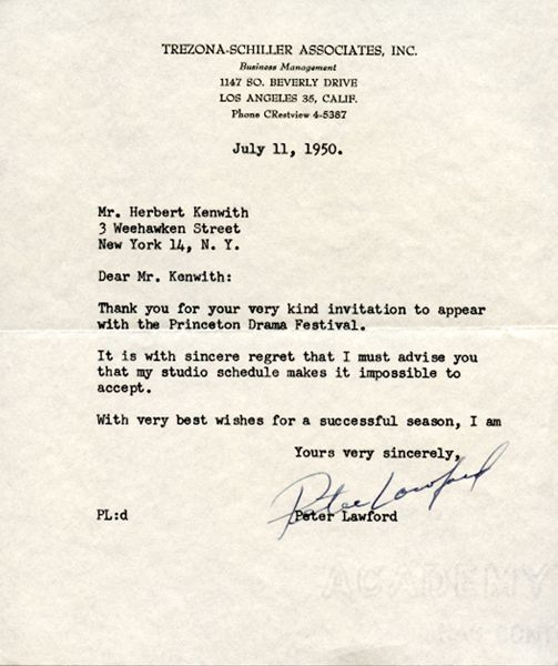 Original 1950 Peter Lawford Signed Typed Letter