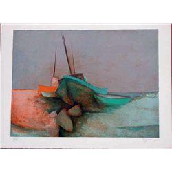 Claude Gaveau, Low Tide, Signed Lithograph