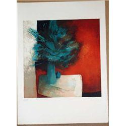 Claude Gaveau, Blue Bouquet, Signed Lithograph