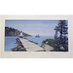 Mel Hunter, The Jetty, Signed Mezzograph