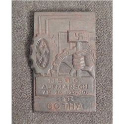 RARE 1935 ORIG NSBO NAZI MEDAL-HAS NSBO GEAR HAMMER & S