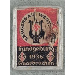 1936 NAZI GAU BADGE-SAAR BRUCHEN-TIN & FABRIC