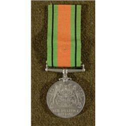 WWII BRITISH DEFIANCE MEDAL-KING GEORGE 1939-45-W/RIBB