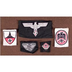 5 VINT NAZI PATCHES-GREAT REPROS HJ/DDAC/RAD/VETERANS