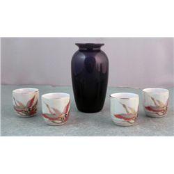 4 Japanese Teacups w/Cranes & Laslo Mikasa Vase