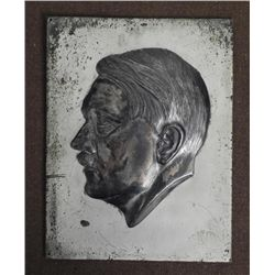 NAZI BUST PLACK OF HITLER-ORIGINAL-MOUNTED ON STEEL