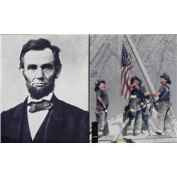 2 Photos USA Abraham Lincoln Flag Ground Zero 9/11