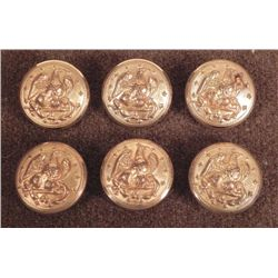 6 Post Civil War Gilt Coat Buttons w/ Eagles