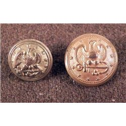 2 Antique Gilt Civil War Tunic Buttons w/Eagle, Anchor