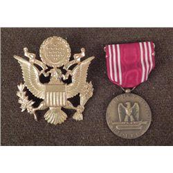 WWII NAMED GOOD CONDUCT OFFICER MEDAL & VISOR CAP EAGLE