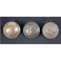 3 Spanish American War Antique Brass Anchor Buttons