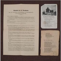 GERMAN NAZI SOLDIER'S SONGBOOK-POSTCARD W/SONG--SHEET
