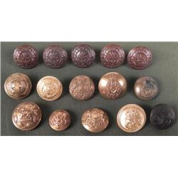15 VINTAGE BRITISH MILITARY BUTTON COLLECTION,MAKER MKD