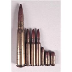 WWII ORIG BULLET & 50 CAL GROUPING-7 ITEMS