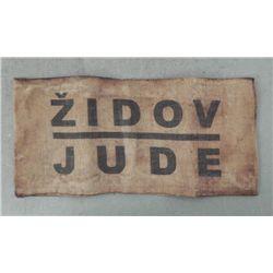 "WWII JEWS NAZI CONCENTRATION CAMP ARMBAND--""ZIDOV-JUDE"""