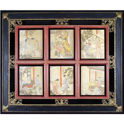 Antique 6 Chinese Paintings in 1 Frame-Women & Poetry