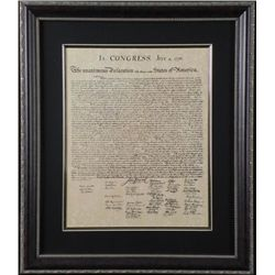 Declaration of Independence Antiqued Framed Print