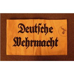 NAZI DEUTSCHE WEHRMACHT ARMBAND-BLACK ON YELLOW W/STAMP