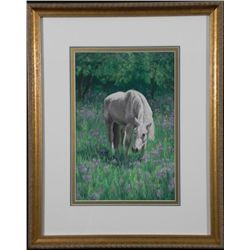Carolyn Griffin Original Pastel Art White Horse -Framed