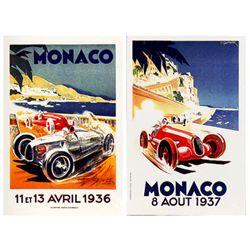 2 Deco Racing Posters Monaco 1936, 1937 Georges Hamel