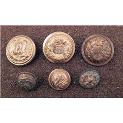 6 Civil War Eagle Gilt Coat Buttons Large, Small