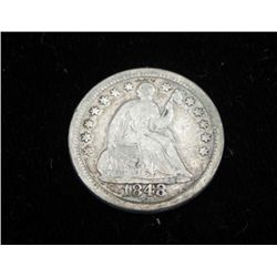 1848 Seated Liberty Half Dime -High Grade, Key Date