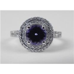 14K White Gold Tanzanite Ring w/Round Stone, Diamonds