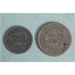 2 Risque Novelty Coins 1851 Half Cent, 1851 One Cent