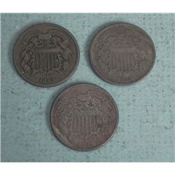 3 Diff Date Civil War 2 Cent Pc Coins 1864, 65, 68