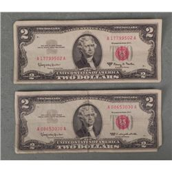2 $2 Red Seal US Notes Bills 1963, 1963A