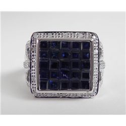 14K White Gold Blue Sapphire Ring -Square Checkerboard