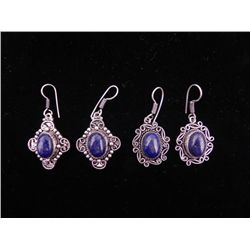 Lapis 4 Pc Sterling German Earrings 2 Pairs
