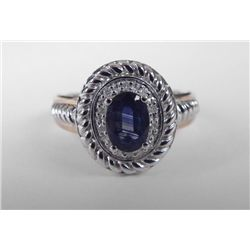 10K Yellow Gold Oval Blue Sapphire Ring